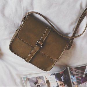Women's gray leather square crossbody bag